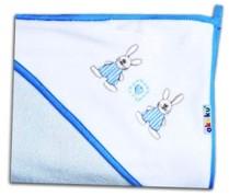 Detská osuška Akuku, modrá so zajačikmi/80x80cm