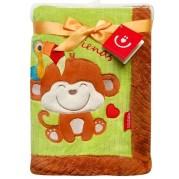 Detská deka Bobas Monkey, zeleno-hnedá