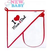 Osuška New Baby I Love Mum and Dad, bielo-červená