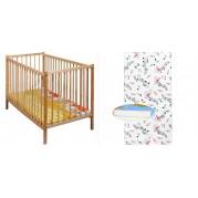 Detská postieľka New Baby Dominic, prírodná + matrac/120x60cm